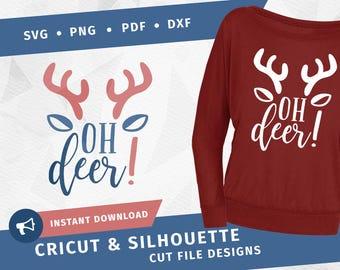 Oh deer SVG dxf Cricut Silhouette Reindeer svg Cut File Winter svg Christmas SVG DIY Crafting