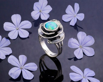 Blue Opal Ring, Sterling Silver and Opal Ring, June Birthstone Ring, Summer Ring, White Ring, Handmade, Fashion ring
