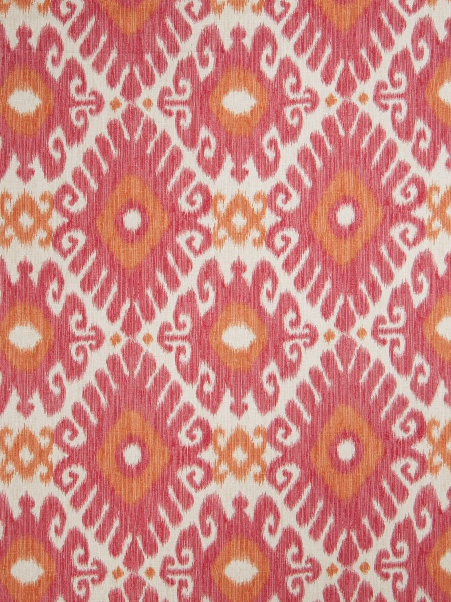 Orange And Pink Linen Ikat Upholstery Fabric By The Yard