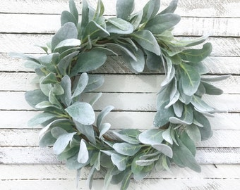 Lamb's Ear Wreath, Spring Wreath, Year Round Wreath, 15 inch, Farmhouse Wreath, Mini Wreath, Farmhouse Wreath, Modern Farmhouse