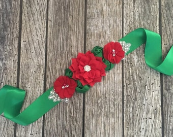 Maternity sash, christmas maternity sash, Christmas baby sash, Christmas sash, red and green sash, christmas photo shoot,