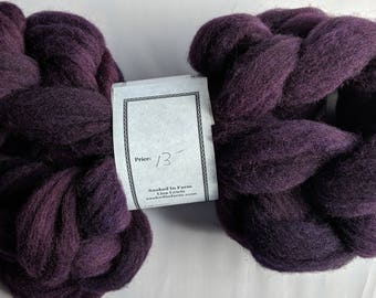 """Babydoll Southdown Wool and Alpaca Blend Combed Top for Spinning  Hand Dyed 2 Oz (More Avail) Spinning Fiber Felting  """"  Concord Grape  """""""