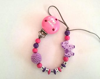 Fuchsia purple Pony and woven Pearl pacifier clip