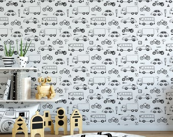 Fun vehicle Color Me removable wallpaper / cute self adhesive wallpaper / interactive doodle temporary wallpaper D121-27