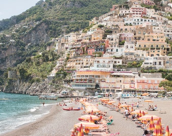 Italy Photography, Summer in Positano, Amalfi Coast, Italy, beach photography,Italian home decor, Positano Art, bedroom art, beach umbrellas