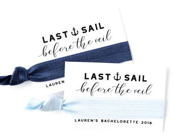 Navy Blue Nautical Bachelorette Party Hair Tie Favors | Custom Girls Cruise Bachelorette Hair Tie Favors | Navy Blue Anchor Bachelorette