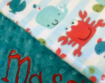 Personalized Baby Blanket Gray Go Fish Baby Blanket with Teal Dot Minky Back Stroller Size