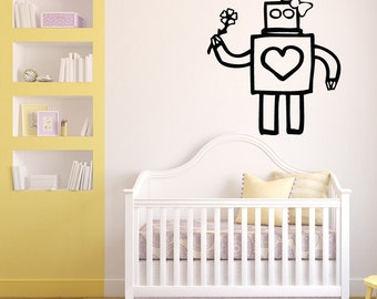 Cute Girl Robot Wall Decal (Many sizes and colors available)