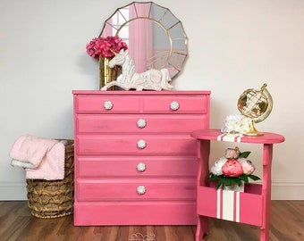 Pink Dresser and Side Table