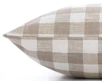 Warm Stone Gingham Check dog bed cover // Neutral taupe plaid pet bed cover // Farmhouse chic dog bed duvet for small to large dogs