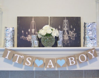 Its A Boy Banner, Baby Boy, Baby shower banner, Baby Shower Decorations, Baby Announcements, Brown and Blue, Its A Boy Banner