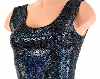 Black Shattered Glass Holographic Lycra Spandex Bodycon Clubwear Crop Top with Scoop Neckline 150170
