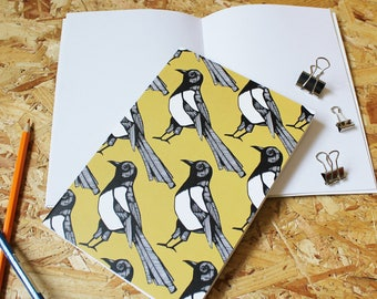 Magpie A5 Notebook -stocking filler - blank notebook - bird notebook - A5 notebook - yellow - cute notebook - gift for her - gift for him