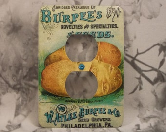 Metal Burpees Seed Label Outlet Covers - Potatoes - Burpees 1890 - Vintage Seed Labels - 10DR Dual Plex Outlet