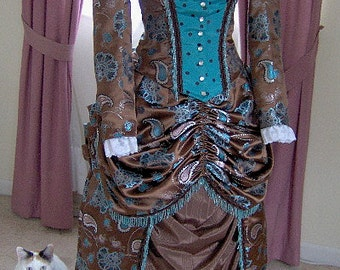 FOR ORDERS ONLY - 1800s Victorian Dress 1880s Bustle Gown Skirt Bodice - Old Wild West Sass - Gothic Bridal