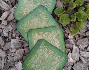 4 medieval tracery interlacing leather coasters
