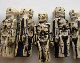 10 Small Skeleton Beads - CB579
