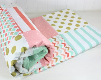 Baby Blanket, Minky Baby Blanket, Nursery Decor, Baby Shower Gift, Baby Quilt, Baby Girl, Blush Pink Coral Mint Gold White Boho