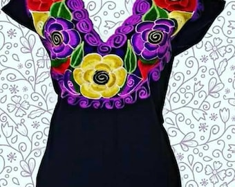 S-M Mexican Blouse embroidered mexican top mexican clothing floral blouse mexican embroidered