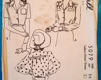 """Vintage 1943 WW2 era shirt blouse with yoke sewing pattern - McCall 5079 - size 14 (32"""" bust, 26.5"""" waist) - 1940s"""