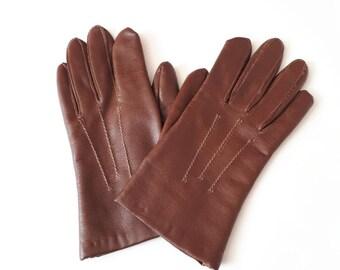 Debenhams gloves 1980's vintage gloves 1980's brown gloves vinyl gloves ladies vintage gloves size 7.5