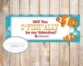 """Will You O'FISH""""ALLY"""" Be My Valentine?  Treat Bag Tags"""