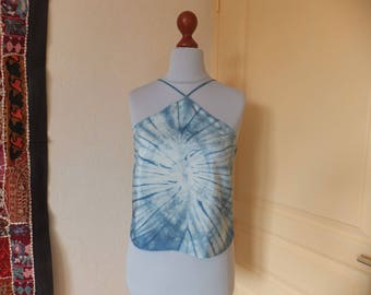 Small top 38/40 silk dyed by hand with genuine indigo