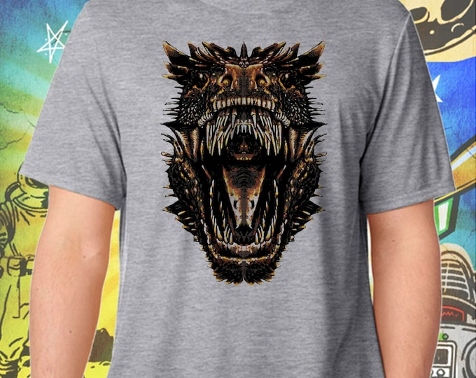 Game of Thrones / Dragons Mouth / Drogon / Men's Gray Performance T-Shirt