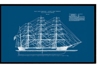 Ships Blueprint of an American Clipper dated 1853 Coastal Sailing Wall Art 7 x 11inch