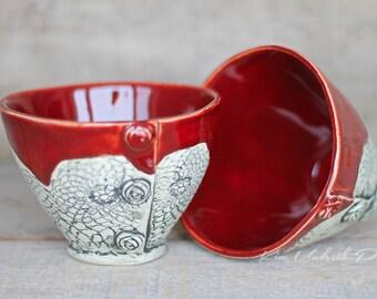 Firebrick Red vintage bowls, wine cup, tea bowl, prep bowl, kitchen decor, cute pottery bowl, vintage bowl, dessert bowl, ceramic art