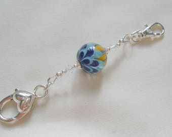 Blue Dahlia Stitch Marker Holder