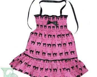 Babies/childs Cat Print Pink Black Summer Dress. Many Sizes.