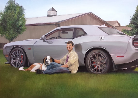 Reserved - CUSTOM PORTRAIT - CAR Painting - Custom Car Painting - Oil Painting - Mustang