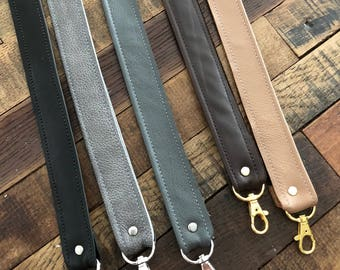 """1"""" Wide Brown, Black, Dark Gray, Light Gray or Tan Leather Detachable Purse Shoulder Strap, with options of length and hardware color"""
