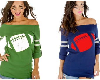 Off the Shoulder Football Sweatshirt. Customizable Shirt. Women's Football Shirt. Gameday Shirt. Super Bowl Shirt. Women's Gift.