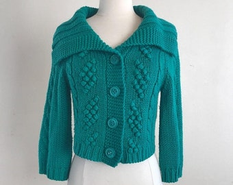 SHOP SALE Green Chunky Knit Cropped Cardigan with Fold Over Cowl Collar - Pinup Sweater Size Small