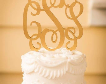 Wedding Cake Topper - Monogram Cake Topper - Bride's Cake - Initial Cake Topper - Painted