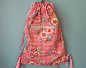 Flower pattern cotton backpack