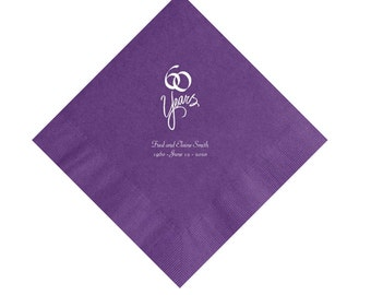 60 Years 60th Wedding Anniversary Napkins Personalized Set of 100 Napkins Anniversary Party Supplies