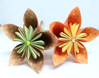 Handmade origami Kusudama paper flowers. Gorgeous heart patterned paper.