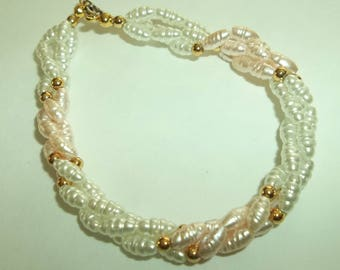 Twisted  3 Strand Fresh water Pink white Pearl bracelet