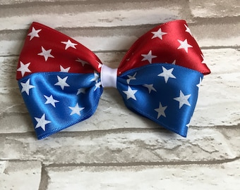 4th of July bow- Red white blue bow- patriotic bow