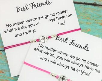 Best Friends Bracelets | No Matter Where No Matter What Card | Long Distance Friendship | Matching Friendship Bracelets  | BFF Bracelet