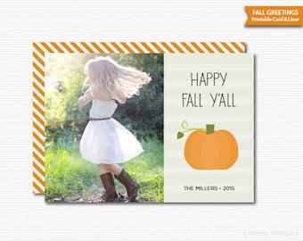 Fall Greeting Card Thanksgiving Card Photo Card Happy Fall Y'all Pumpkin Halloween Card Printable Digital Happy Thanksgiving Autumn Card