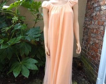 Vintage Peach Nylon Chiffon Double Layer Long Nightgown Nightie Lingerie Negligee Size L
