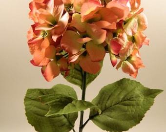 "Silk Hydrangea in Cream and Pink - 32"" Tall"