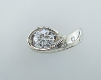 ARTISTICLY Contoured Wedding Ring -1.24 Carat Diamond Ring Cast in White Gold-Ready to Ship
