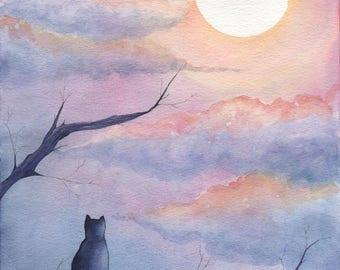 Moon Gazer - 9x12in. Original Watercolor Painting