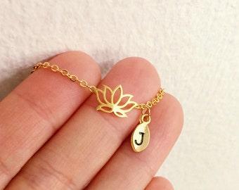 Lotus flower bracelet, Personalized bracelet, initial bracelet, Lotus bracelet, initial charm, Bridesmaids Gift, simple bracelet