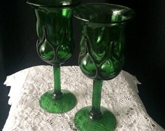 Vintage Blown Bubble Wine Glasses